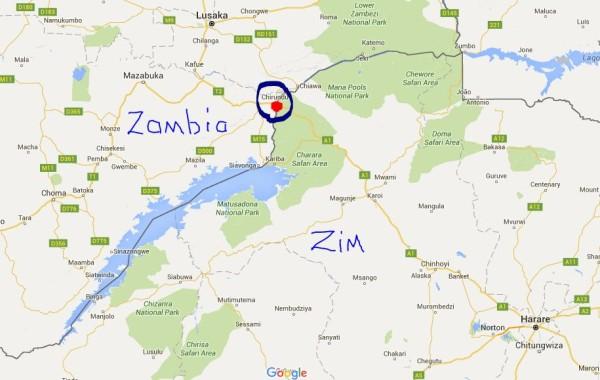 map of chirundu zambia and zimbabwe