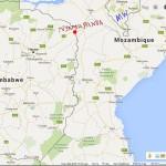 map showing location of Nyamaponda Border Post between Zimbabwe and Mozambique