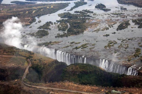 victoria falls main road and railway line over zambezi